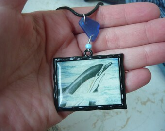 Cobalt Blue Genuine Beach Glass Necklace with Dolphin Photo Pendant