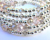 Memory Wire Bracelet. The 'Crystal' Beaded Memory Wire Bracelet. Pinks, champagne, silver.