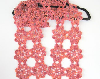 Scarf. Crochet flower scarf. Lovely and long. Unique.  Own design.  Hand crocheted. Ready to ship. OOAK
