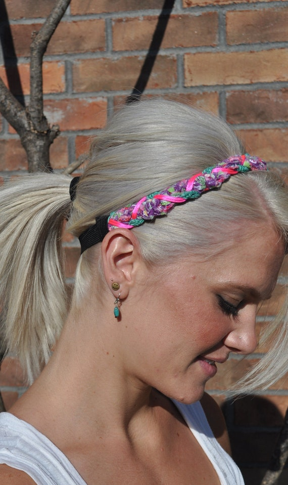 SALE / Braided Crocheted Headband Neon Pink Cord Hair Accessory