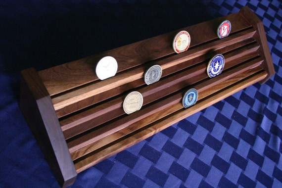 Display rack for military challenge coins in YOUR CHOICE of four woods - Customizable