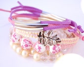 Pastel friendship bracelets arm candy - Stackable: beaded bracelet, wrap bracelet, charm bracelet - Pink, yellow & purple - Set of 6