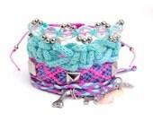 Friendship bracelet  set - Stackable: Studded friendship bracelet, wrap bracelet with charms, beaded bracelet - Set of 4