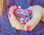 Friendship bracelets arm candy - Stackable bracelets, wrap bracelet, braided bracelet, charms bracelet - Blue, pink & orange - Set of 4