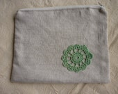 Linen Zippered Pouch with Crochet Applique