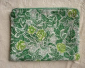 Green Floral Zippered Pouch