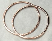 2 Shiny Large Round Hammered Links Copper 31.75mm