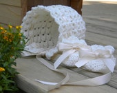 Vintage Crochet Baby Bonnet and Booties