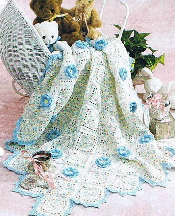 BABY'S BLUE Bouquet - Crochet Afghan Blanket PATTERN