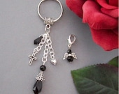 Bag charm Key Ring & Purse Charm Set Black Beaded
