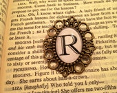 Brooch Personalized Initial Vintage Typography