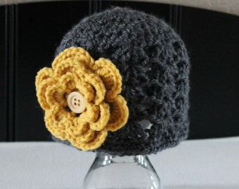 Gray Baby Girl Hat with Golden Yellow Flower