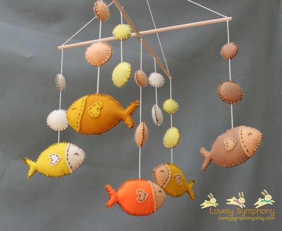 Tropical fishes baby mobile - golden fishes hanging mobile