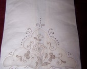 Made in Madeira Portugal Vintage Linen and Cotton Hand Embroidered Hand Towel Free Shipping