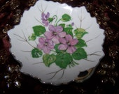 Very Small Trinket Dish, Lavender Violets, Gold accents
