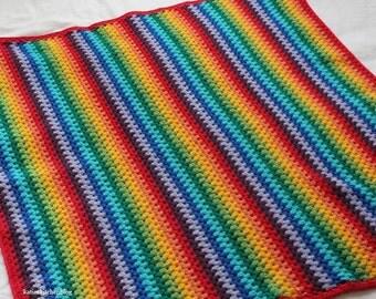 Rainbow Crochet Granny Stripe Blanket