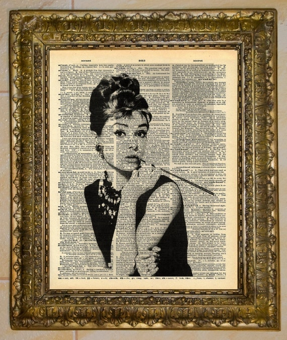 Audrey Hepburn Dictionary Art from at the drive in on etsy, decorating your first college dorm or apartment, back to school, decor for university dormitory