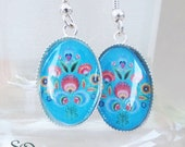 Turquoise red flower earrings, resin jewelry.