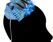 Blue tweed Margaret Alice Fascinator with blue jay feathers and flowers.