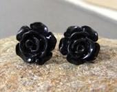 Goth black elegant  rose posts stud affordable Mother's Day