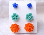 Flower set orange green teal blue shabby chic  post stud set