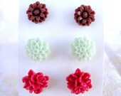 Flowers set brown mint and cyclamen pink rose chrysanthemum shabby chic  post stud