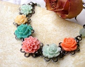 Colorful Garden  flowers shabby chic  pale nude spring summer bracelet floral filigree