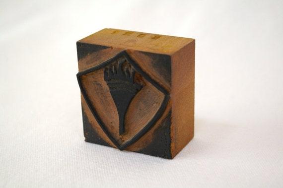 Vintage Torch Printers Block Textile Stamp
