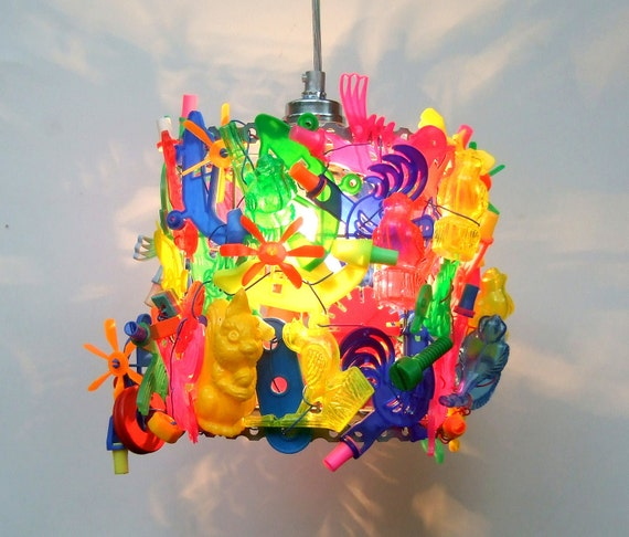 Lamp shade, pendant light , TOYS, fun, playful, recycle, Unique.