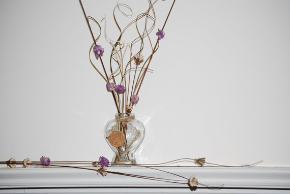 Heart Shaped Glass Purple Blossom Table Accents, Set of 6