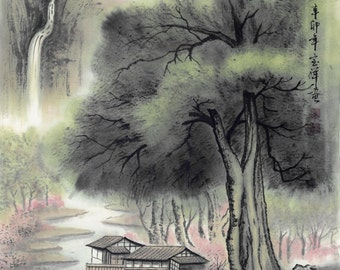 Where the peach flowers are blooming - Original Chinese Landscape Painting