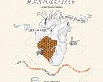 Inspirational Poem Antonio Machado Art Print Illustration Quote 8x10  heart bees - Last Night As I Was Sleeping