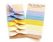 Fair Lady Set: 5 Handmade Hair Ties, Solid Colors, Elastic