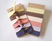 Summer Nights Set: 6 Handmade Hair Ties, Solid Colors, Elastic