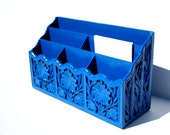 Electric Blue Organizer Upcycled Vintage