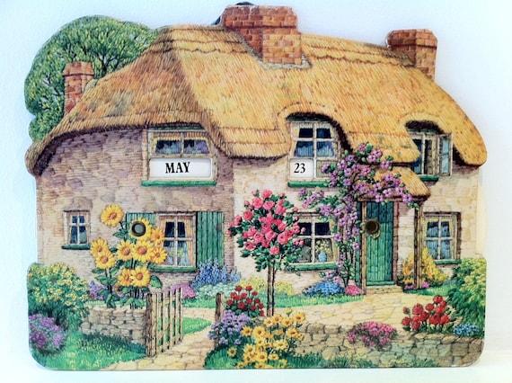 Vintage Perpetual Calendar Pretty Cottage