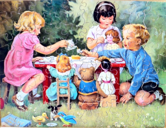 Victory Vintage Jigsaw Puzzle Children's Tea Party 100 Piece