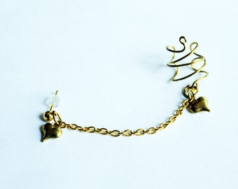 Antique Gold Heart and Chain Ear Cuff