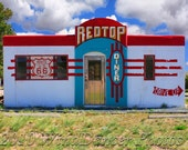 RedTop on Route 66, Fine Art Photo, Old Diner,  Route 66, 12x16 Matted Photo, Retro, Americana, Wall Decor, Man Cave, Rt 66 Diner, Kitsch
