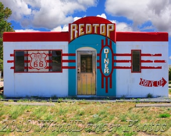 RedTop on Route 66 -  8 x 12 Fine Art Photo of Old Diner - Route 66 Photography - Old Diner - Retro - Americana - Home Decor - Office Decor