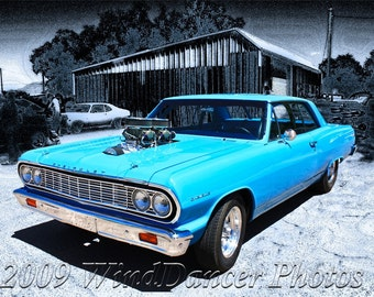 Blue Muscle - '64 Chevelle Malibu - Muscle Car-  Fine Art Photo - Man Cave - Retro - Americana -Gift idea for Men, Gift idea for Guys