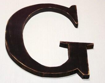 "Wooden letter ""G"", alphabet letters, shabby chic, nursery letters, 12 inch, distressed, vintage, cottage decor, painted Vintage Black"