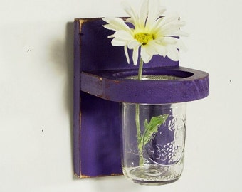 Wood country style floral wall vase, sconce, distressed, home organizer, shabby chic, home decor, vintage, painted Purple