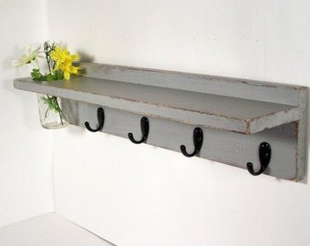Wood shelf 4 key hooks with floral wall vase, coat hooks, wood, sconce, home decor, shabby chic, country style, painted Vintage Gray