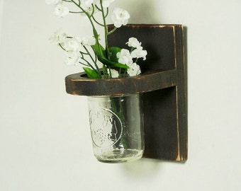Vintage floral wall vase, wood sconce, home decor, wedding decor, shabby chic, country style, painted Antique Black