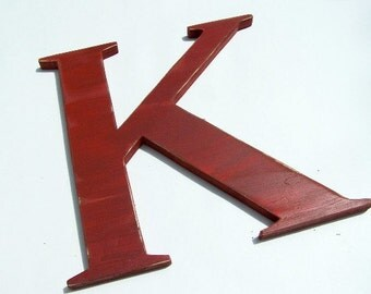 """Large wooden letter """"K"""", 12 inches tall, wall hung, home decor, letters, shabby chic, distressed, alphabet, wood letters, painted Rich Red"""