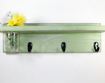 Wall shelf 3 key hooks with floral wall vase, wood, distressed, shabby chic, home decor, painted Garden Green