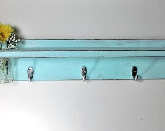 Wood shelf 5 key hooks with floral  vase, coat hooks, wood, home decor, distressed, shabby chic, country style, painted Baby Blue