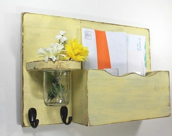 Mail organizer, floral vase, sconce, key hooks, vintage, wood, distressed, shabby chic, home decor,painted Eartly Yellow