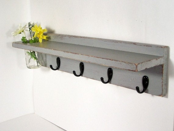 Wood shelf key hooks with floral wall vase coat